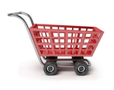 negocios comida: carro de tienda roja 3D. imagen 3D. Fondo blanco aislado.