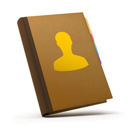 iconos contacto: Libro de cuero de contactos. imagen 3D. Fondo blanco aislado. Foto de archivo