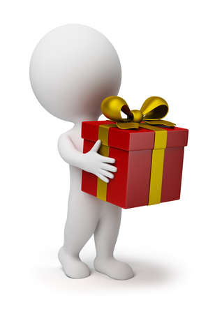 cadeaupapier: 3d klein persoon draagt een rode doos-gift met een gouden strik. 3d beeld. Geïsoleerde witte achtergrond.
