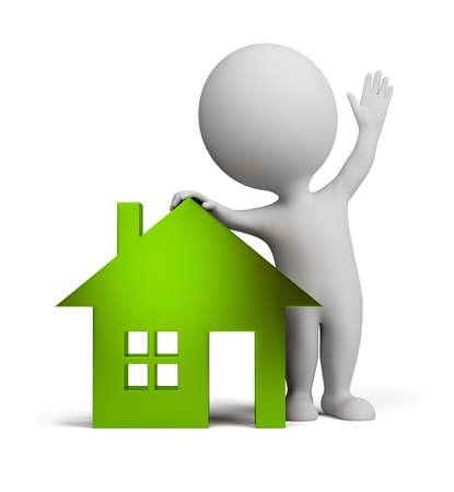 little business man: 3D persona peque�a cerca a la casa de cristal verde y agitando una mano. imagen 3D. Fondo blanco aislado.