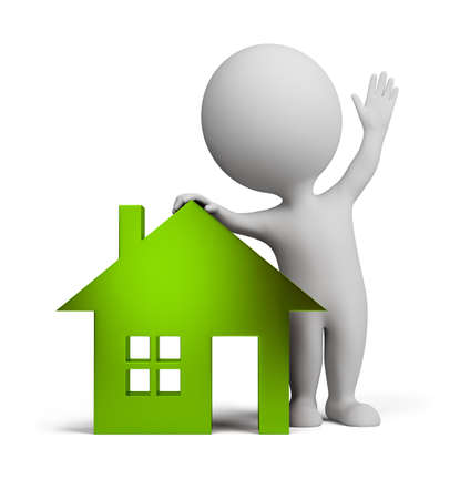 small house: 3d small person standing near to the glass green house and waving a hand. 3d image. Isolated white background.