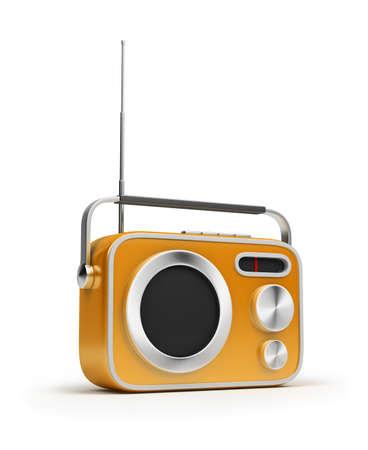 Retro Radio gelbe Farbe. 3D Abbild. Isoliert, Weißer Hintergrund.