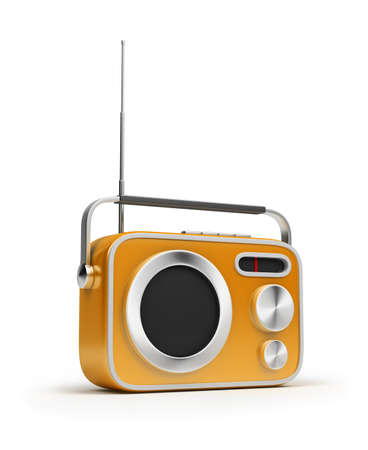 Retro of radio of yellow colour. 3d image. Isolated white background. photo