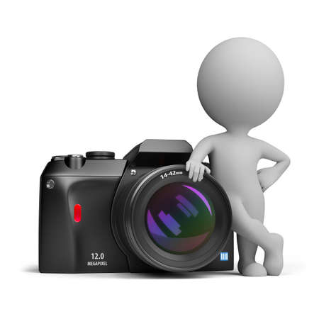 3d small person standing next to a large digital camera. 3d image. Isolated white background. Stock Photo - 10280416