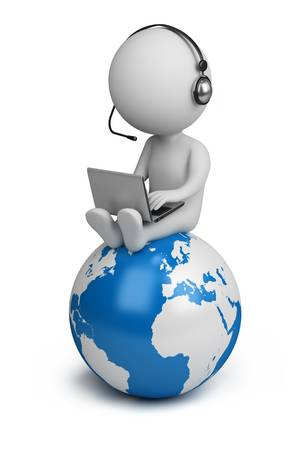 conferences: 3d small person sitting on planet Earth with a laptop and headphones. 3d image. Isolated white background.
