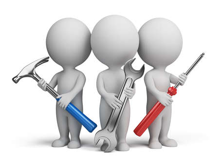 small tools: Three 3d people with the tools in the hands of. 3d image. Isolated white background.