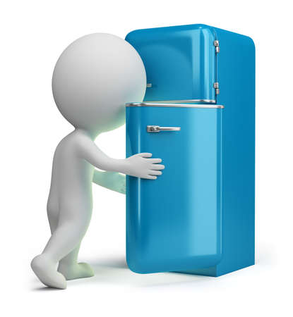 completed: 3d small person looking inside a vintage fridge. 3d image. Isolated white background. Stock Photo