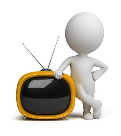 3D pequeña persona parada junto a una TV retro amarillo. imagen 3D. Fondo blanco aislado. Foto de archivo - 10280410