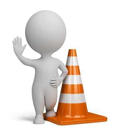warnem      ¼nde: 3D kleine Person, die in der Warnung Position neben Verkehrshütchen steht. 3D Abbild. Isoliert, Weißer Hintergrund.