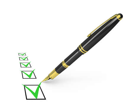 black pen draws a checkmark in the list. 3d image. Isolated white background. photo