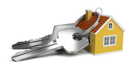 yellow house: large keys next to a small house. 3d image. Isolated white background.