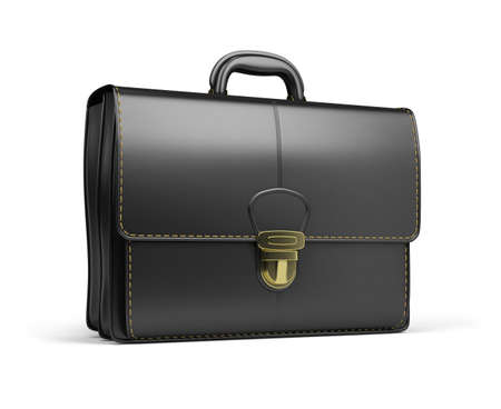 threw: Leather briefcase black. 3d image. Isolated white background. Stock Photo