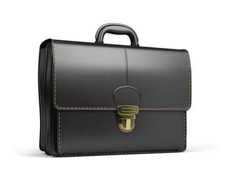 portfolios: Leather briefcase black. 3d image. Isolated white background. Stock Photo