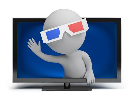 3D glasses: 3d small person looks out from the TV screen. 3d image. Isolated white background.