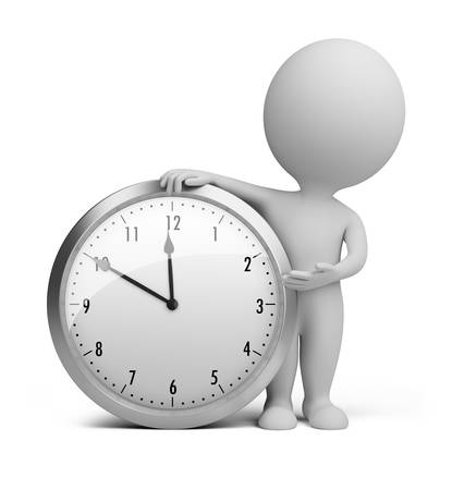 ????? 3d: 3d small person stands next to the clock. 3d image. Isolated white background.