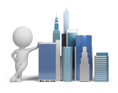 companies: 3d small person standing next to skyscrapers. 3d image. Isolated white background. Stock Photo