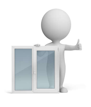 3d small person standing next to a window. Thumb up. 3d image. Isolated white background. photo