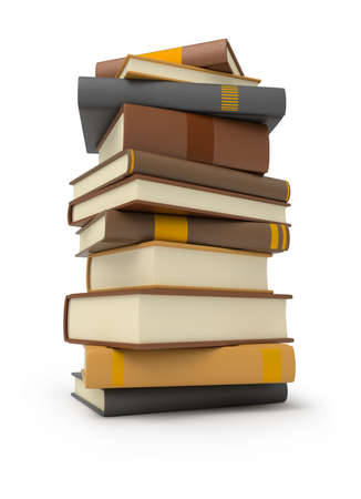 law library: stack of books. 3d image. Isolated white background.