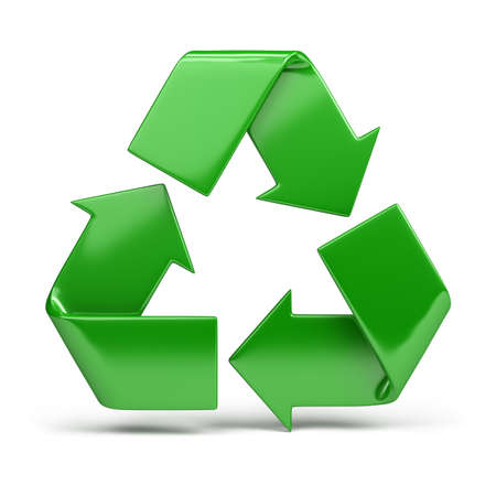 recycle sign: green, shiny recycling symbol. 3d image. Isolated white background. Stock Photo