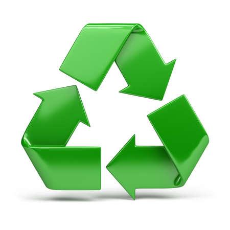reciclar basura: verde, brillante s�mbolo de reciclaje. imagen 3D. Fondo blanco aislado. Foto de archivo