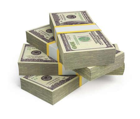 달러: 달러의 덩어리. 3D 이미지. 격리 된 흰색 배경.