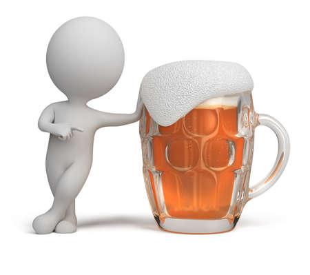 malto d orzo: 3d piccola persona in piedi accanto a un bicchiere di birra. Immagine 3D. Isolato sfondo bianco. Archivio Fotografico