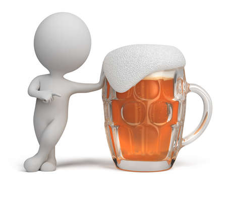 thirsty: 3d small person standing next to a glass of beer. 3d image. Isolated white background.