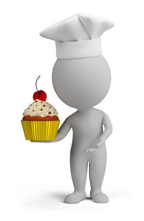 3d small person with pastry cake in his hand. 3d image. Isolated white background.