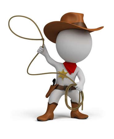 3 d 小さな人カウボーイの手で、投げ縄で帽子とブーツを着ています。3 d イメージ。孤立した白い背景。