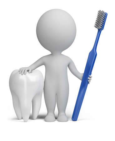 first teeth: 3d small person with a tooth and toothbrush. 3d image. Isolated white background. Stock Photo