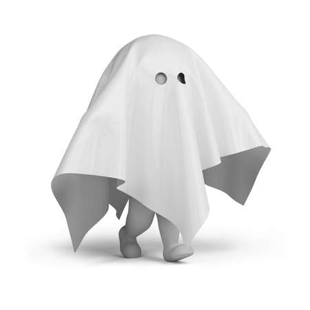 scared man: 3d small person in a ghost costume. 3d image. Isolated white background. Stock Photo