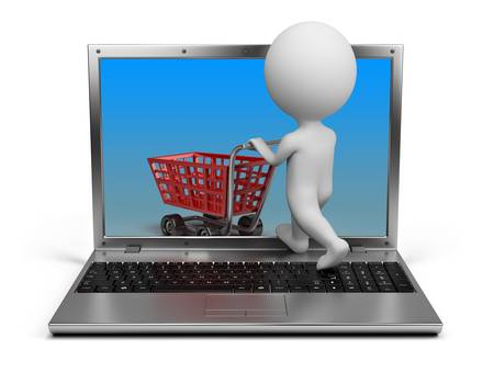 small business computer: 3d small person with a cart penetrating the laptop screen. 3d image. Isolated white background.