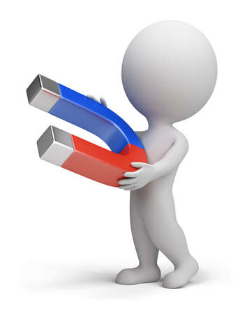 im�n: 3D peque�a persona permanente con un im�n en la mano. imagen 3D. Fondo blanco aislado.