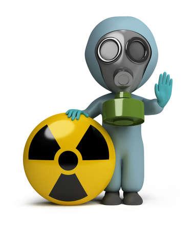 radiacion: persona pequeña 3D en una máscara de gas junto a la señal de la radiación. imagen 3D. Fondo blanco aislado.