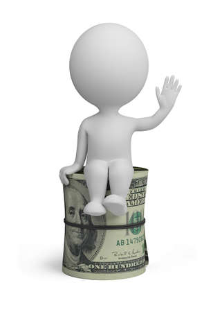 loans: 3d small person sitting on a roll of dollars. 3d image. Isolated white background.