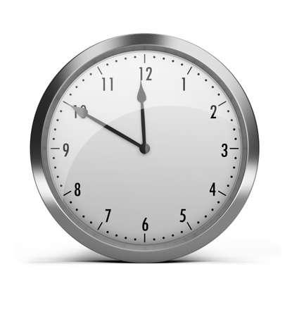 reloj de pared: reloj con un borde de plateado. imagen 3D. Fondo blanco aislado.