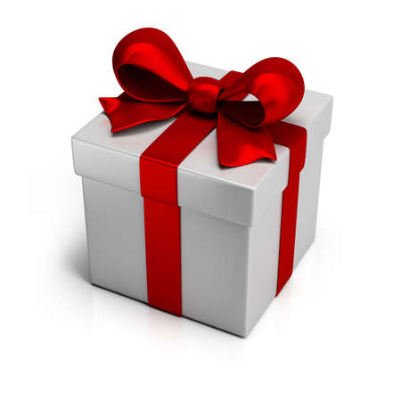 gift box with silk red ribbon. 3d image. Isolated white background. photo