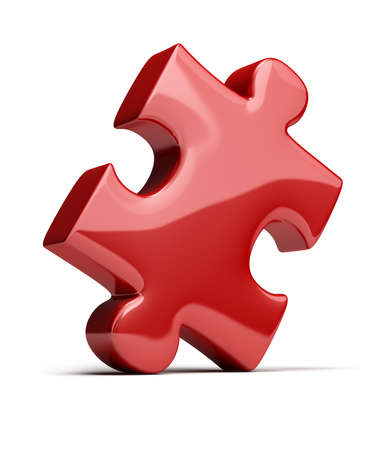 piezas de rompecabezas: puzzle de brillante color rojo. imagen 3D. Fondo blanco aislado.