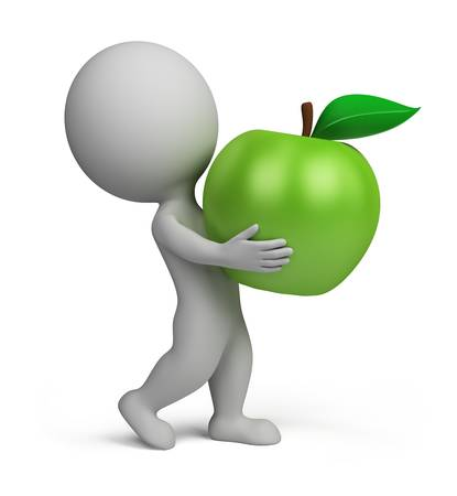 3d small person: 3d small person carrying a green apple. 3d image. Isolated white background. Stock Photo