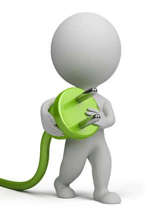 toma corriente: 3 � persona que transportaba en su mano un enchufe el�ctrico. Imagen 3D. Aislado fondo blanco. Foto de archivo