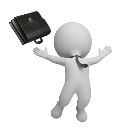 3d small person - businessman jumping with joy and threw his briefcase. 3d image. Isolated white background. Stock Photo - 10993441
