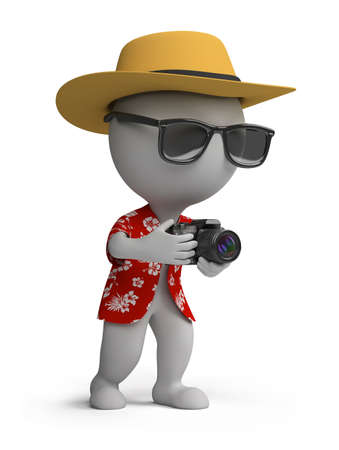 red shirt: 3d small person - tourists in a Hawaiian shirt, hat and sunglasses with a camera. 3d image. Isolated white background.