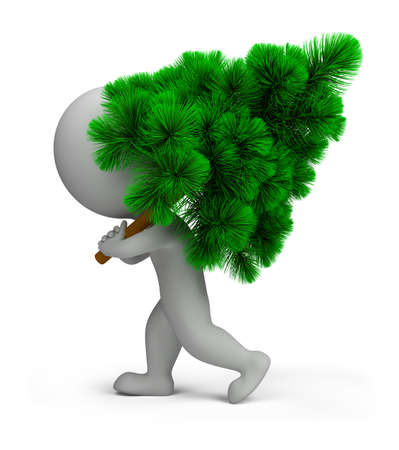 3d small person carrying a green Christmas tree. 3d image. Isolated white background. Stock Photo - 10993451