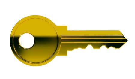 keys isolated: Polished gold key. 3d image. Isolated white background.