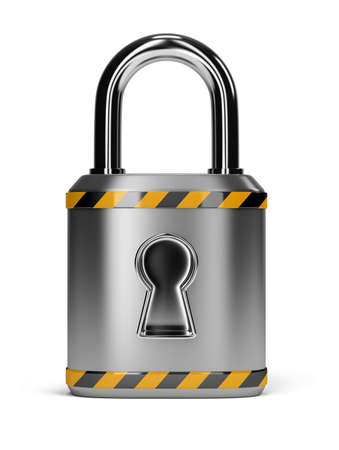 steel lock with the yellow black stripes. 3d image. Isolated white background. photo