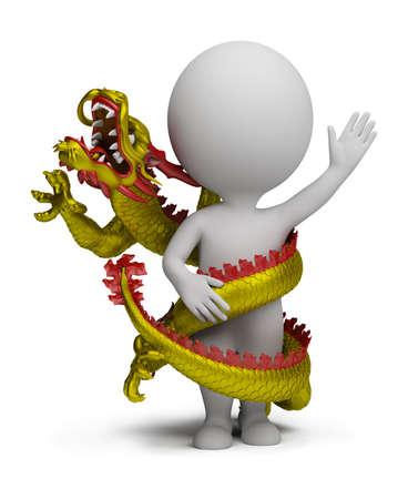 the little man: dragon gira attorno al piccolo uomo. Immagine 3D. isolato sfondo bianco.