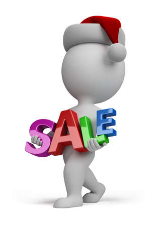 3d small person carries a sign sale. 3d image. isolated white background. photo