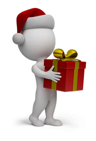 3d small person - santa with a gift in hand. 3d image. isolated white background. photo