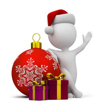 Persona pequeña 3d - santa con los regalos y una bola de navidad. Imagen en 3D. fondo blanco aislado. Foto de archivo