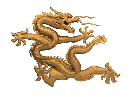 coiled bronze dragon. 3d image. isolated white background. photo